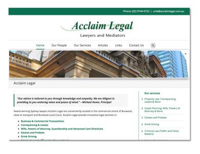 Acclaim Legal – WordPress website