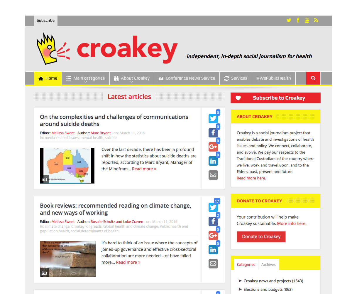 Croakey website - take a look >